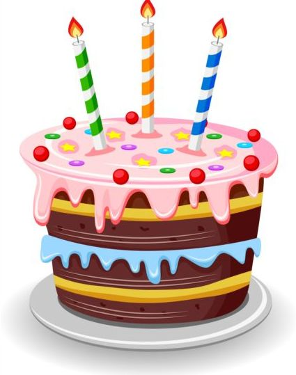Delicious Birthday Cake With Candle Vectors 05 Free Download