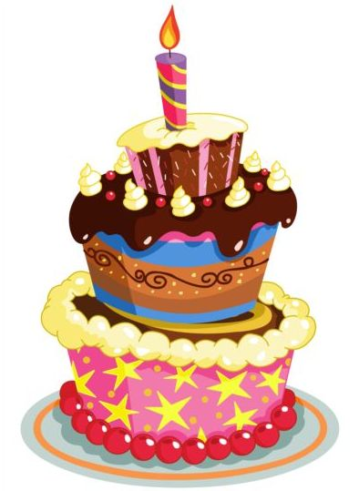 delicious birthday cake with candle vectors 06 free download