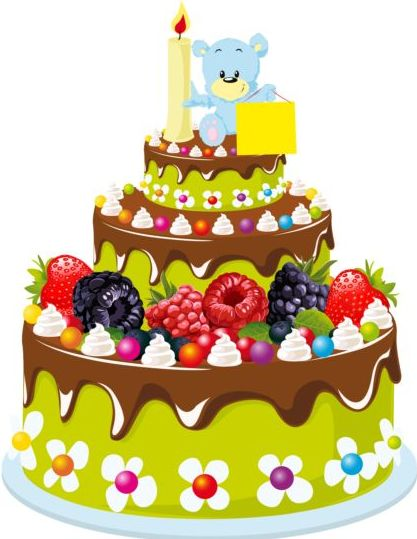 Delicious Birthday Cake With Candle Vectors 07