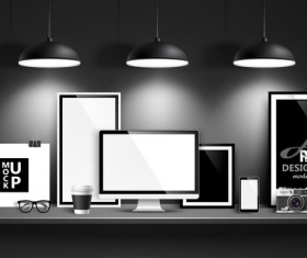 Desk with monitor and lamp vector 01