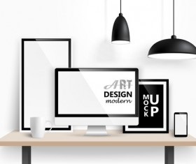 Desk with monitor and lamp vector 02