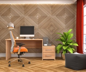 Diamond-shaped walls and work desk HD picture 01