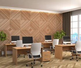 Diamond-shaped walls and work desk HD picture 02