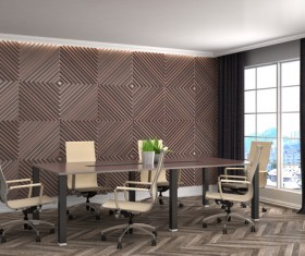 Diamond-shaped walls and work desk HD picture 03