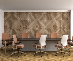 Diamond wall and office conference table Stock Photo