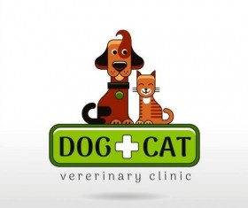 Dog and cat with pet shop and clinic logos vector 01