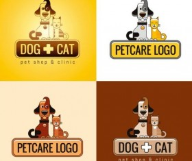 Dog and cat with pet shop and clinic logos vector 02