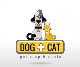 Dog and cat with pet shop and clinic logos vector 03
