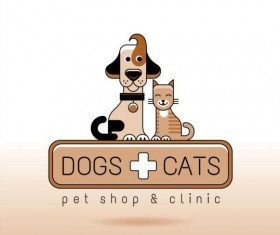 Dog and cat with pet shop and clinic logos vector 04