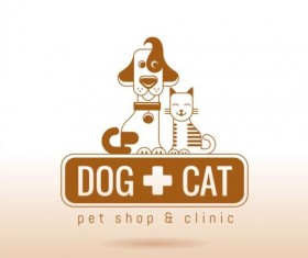 Dog and cat with pet shop and clinic logos vector 05