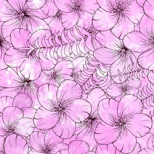 Doodles flower seamless pattern vector 03