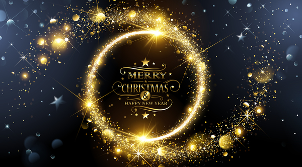 dream golden christmas with new year background vector