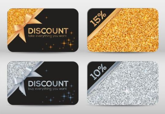 Duscount card template with beautiful bow vector 04