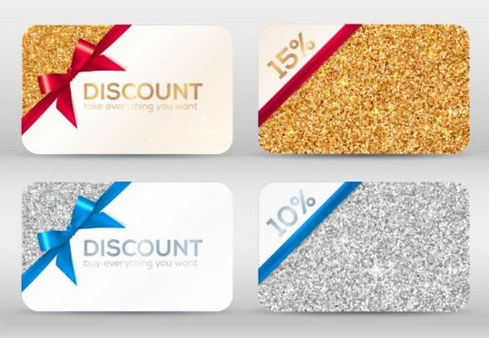 Duscount card template with beautiful bow vector 05