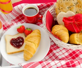 Eggs, strawberry, coffee and all kinds of snacks