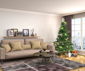 Elegant living room with Christmas tree HD picture 01