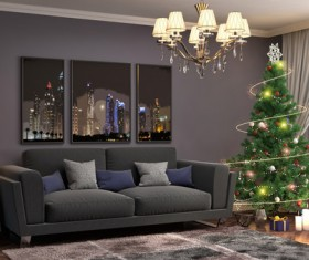 Elegant living room with Christmas tree HD picture 02