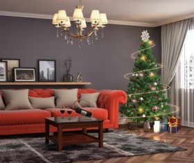 Elegant living room with Christmas tree HD picture 03