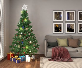 Elegant living room with Christmas tree HD picture 04