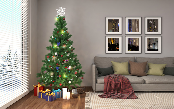 Elegant Living Room With Christmas Tree Hd Picture 04 Free Download