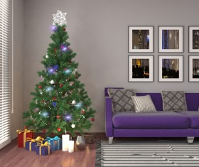 Elegant living room with Christmas tree HD picture 05