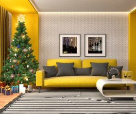 Elegant living room with Christmas tree HD picture 06