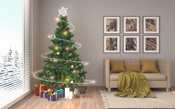 Elegant living room with Christmas tree HD picture 07