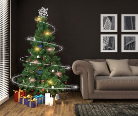 Elegant living room with Christmas tree HD picture 08