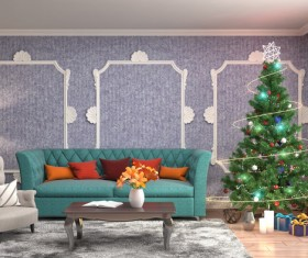 Elegant living room with Christmas tree HD picture 09
