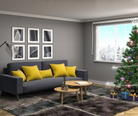 Elegant living room with Christmas tree HD picture 10