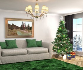 Elegant living room with Christmas tree HD picture 11