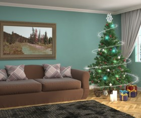 Elegant living room with Christmas tree HD picture 12