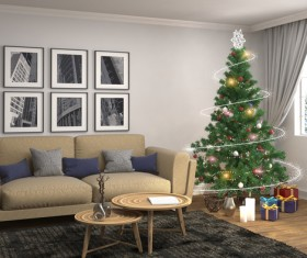 Elegant living room with Christmas tree HD picture 13