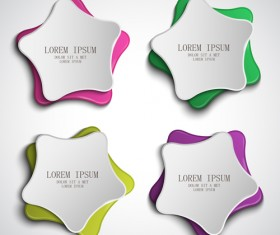 Five-pointed star paper banners vector set 03