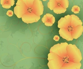 Flowers poppies with green grunge background vector