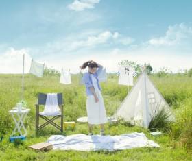 Fresh Girl Outdoor Photo Album Stock Photo 01