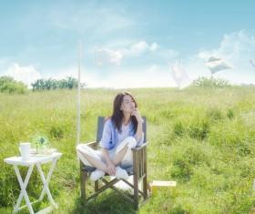 Fresh Girl Outdoor Photo Album Stock Photo 02