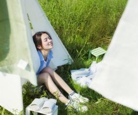 Fresh Girl Outdoor Photo Album Stock Photo 06