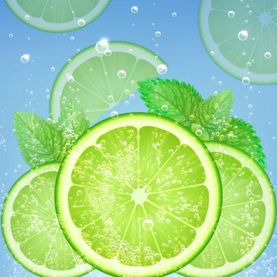 fresh green lemon vector background free download