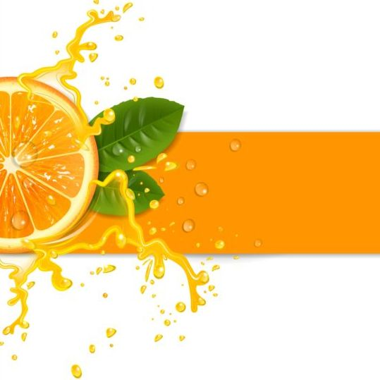 Fresh Orange With Juice Background Vector 01 Vector