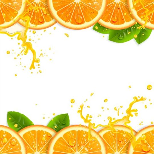 Fresh Orange With Juice Background Vector 03 Free Download
