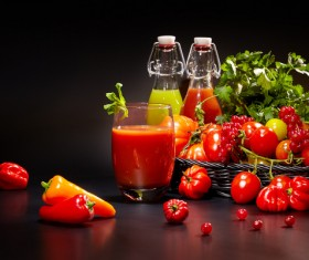 Fresh vegetable juice with red peppers Stock Photo