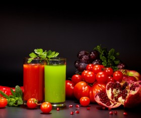 Fresh vegetables and vegetable juices Stock Photo