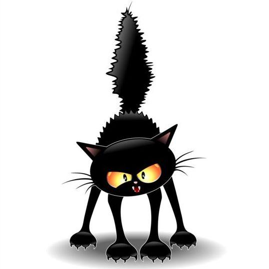 Frightened carton cat vector