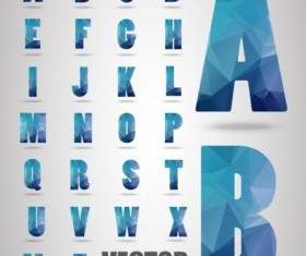 Geometry alphabet blue vectors