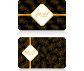 Gift card with golden feathers vector 02