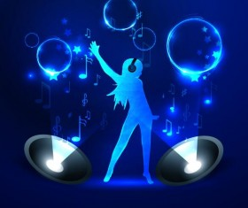 Girl with blue music background vector