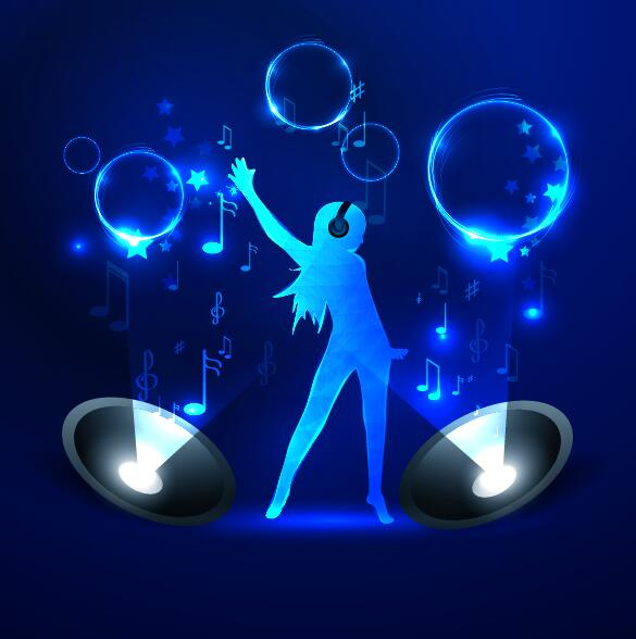 girl with blue music background vector vector background