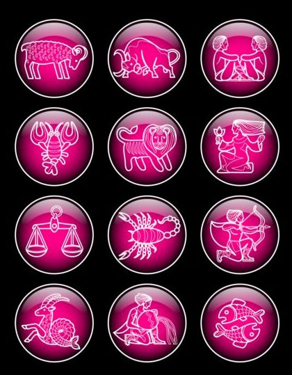 Glass textured zodiac purple icons vector