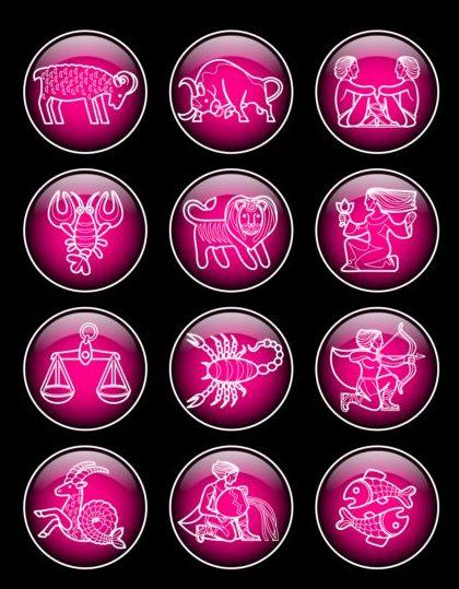Glass textured zodiac purple icons vector